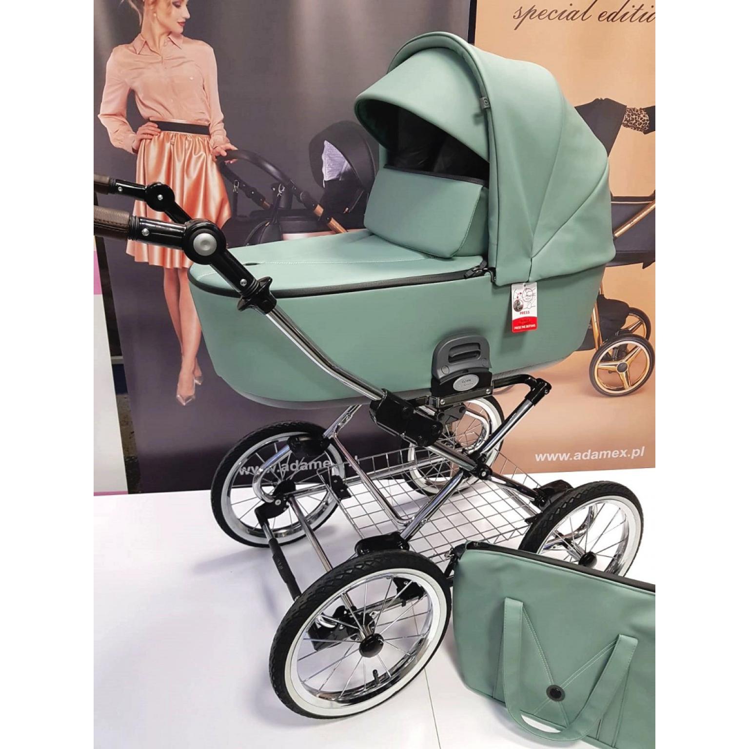 Bērnu-rati-Roan-Bass-Next-classic-eco-āda-Misty-Mint-детская-коляска-roan-bass-next-Classic