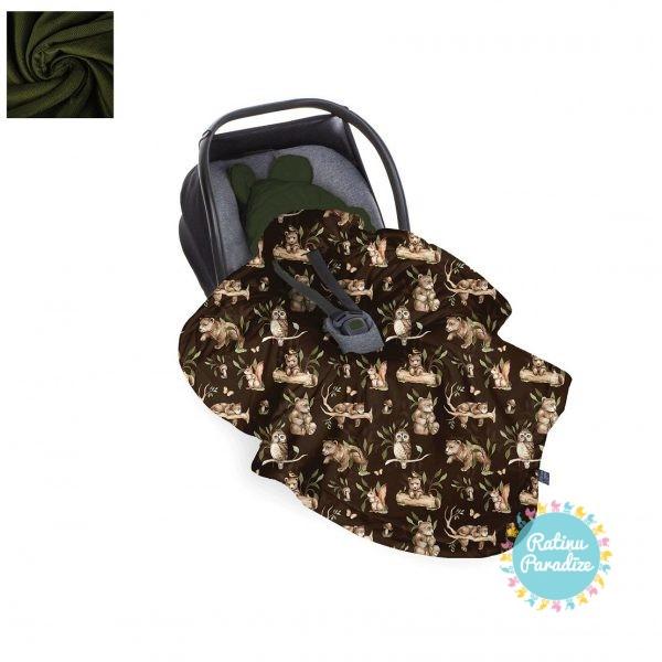 Sedziņa-konverts-autokrēsliņām-Babysteps-happy-bear-dark-haki (1)