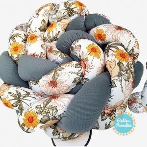 Kokvilnas apmalīte bērna gultiņai PUER exclusive - Flowers gray
