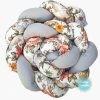 Kokvilnas apmalīte bērna gultiņai PUER exclusive – Flowers light gray(1)