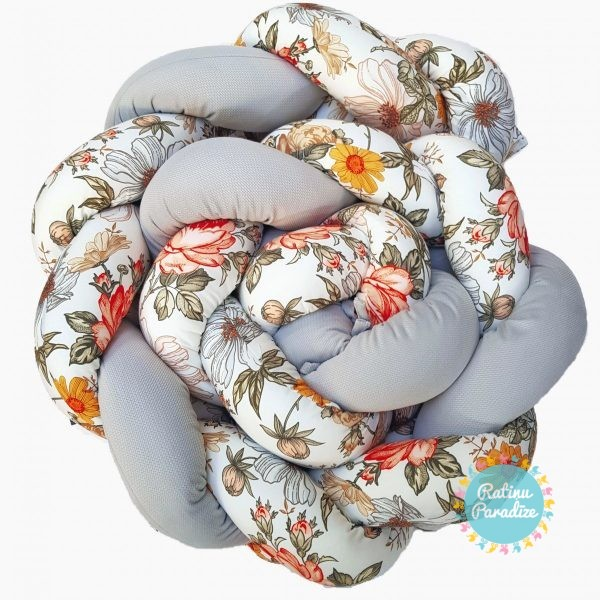Kokvilnas-apmalīte-bērna-gultiņai-Бортик-Косичка-PUER-exclusive-Flowers-light-gray-(1)