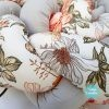 Kokvilnas apmalīte bērna gultiņai PUER exclusive – Flowers light gray(2)