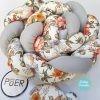 Kokvilnas apmalīte bērna gultiņai PUER exclusive – Flowers light gray(8)