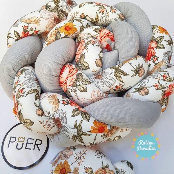 Kokvilnas-apmalīte-bērna-gultiņai-Бортик-Косичка-PUER-exclusive-Flowers-light-gray-(8)