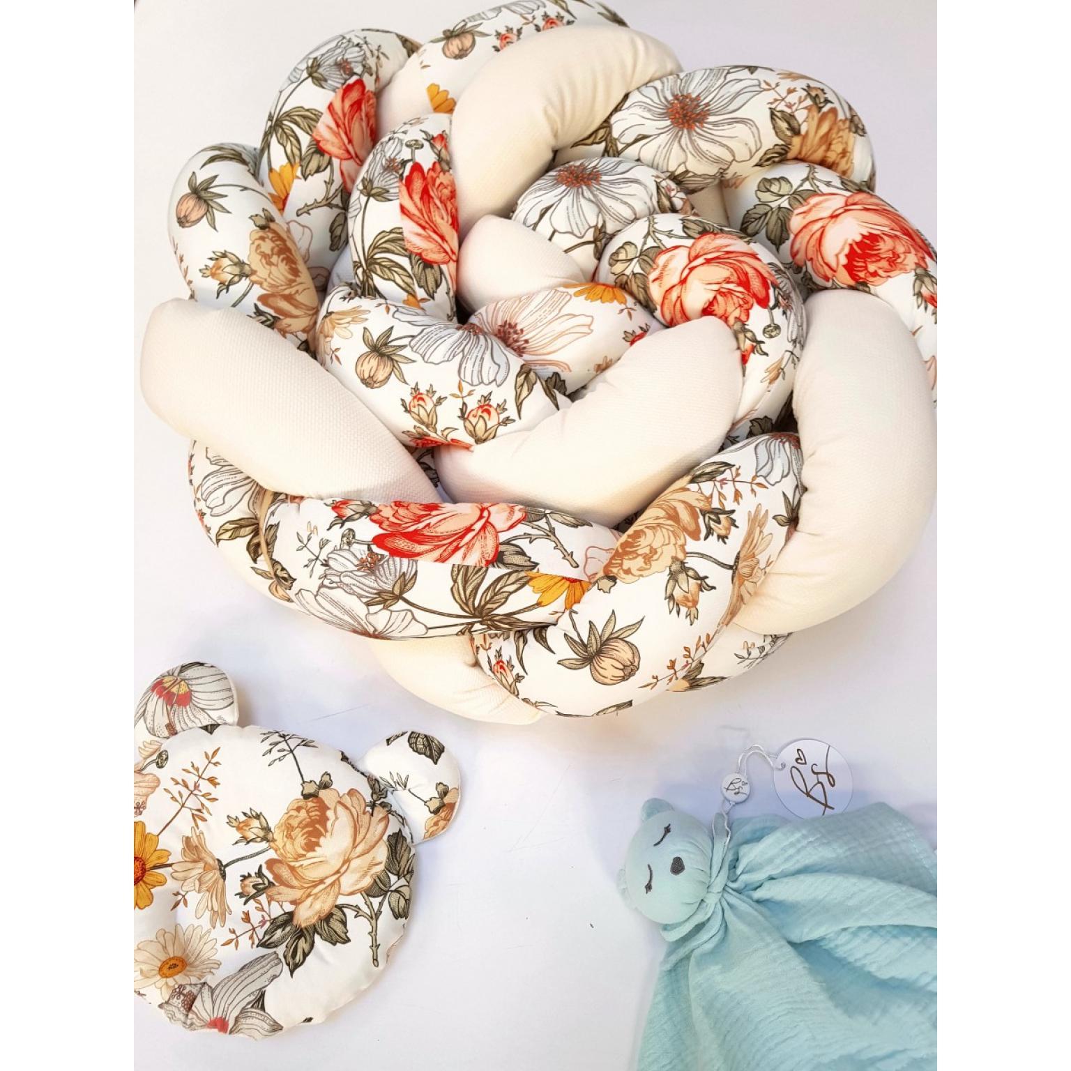 Kokvilnas-apmalīte-bērna-gultiņai-Бортик-Косичка-PUER-exclusive-Flowers-beige-(6)