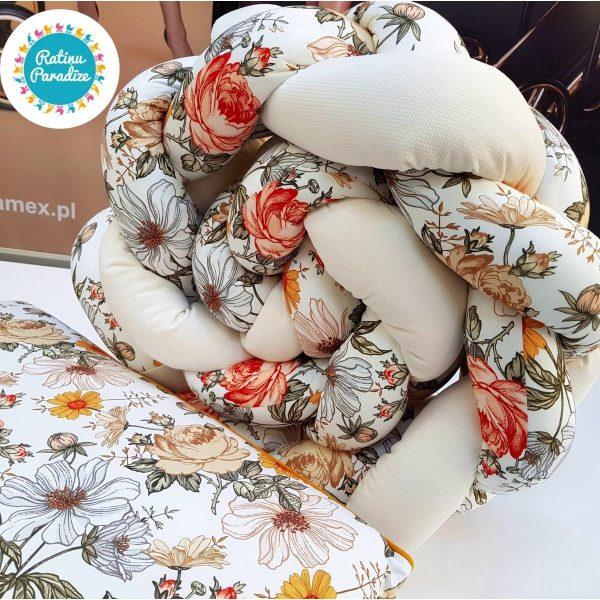 Kokvilnas-apmalīte-bērna-gultiņai-Бортик-Косичка-PUER-exclusive-Flowers-beige-(4)