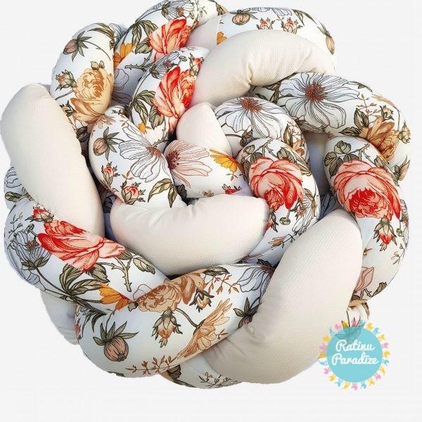 Kokvilnas-apmalīte-bērna-gultiņai-Бортик-Косичка-PUER-exclusive-Flowers-beige-(1)